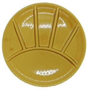 💗Vintage Yellow Divided Fondue Plate/Sushi Plate
